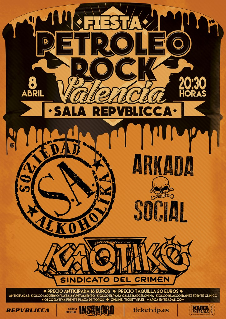 Cartel VALENCIA FIESTA PETROLEO ROCK WEB