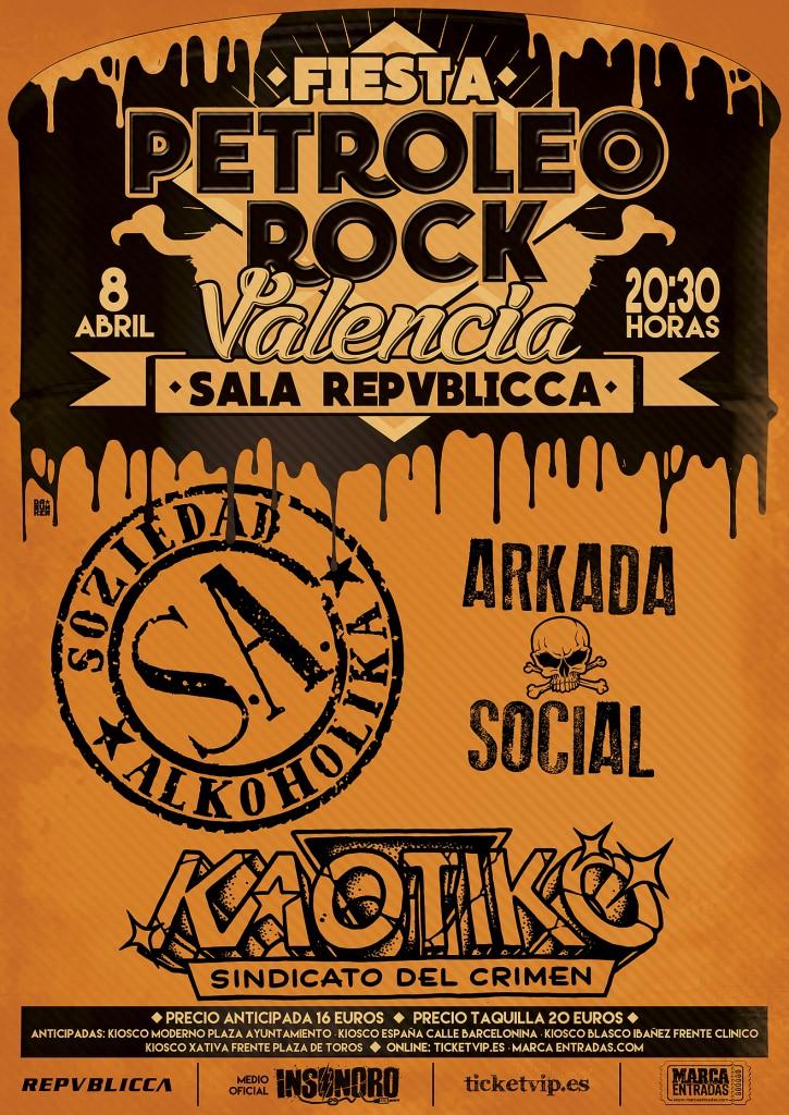 Cartel VALENCIA FIESTA PETROLEO ROCK WEB